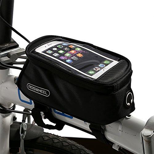 Bolsa bicicleta impermeable funda móvil de Bici bolsa del tubo manillar pantalla PVC transparente para teléfono 4.8-5.7 inches (L)