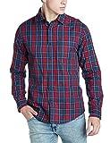 Diverse Men's Casual Shirt (8903905014238_DVC07C2L01-40_X-Large_Red/Navy)