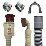 Anschluss Set Aquastopschlauch +Ablaufschlauch +2Schellen für Waschmaschine und Geschirrspüler (1,5 Meter)