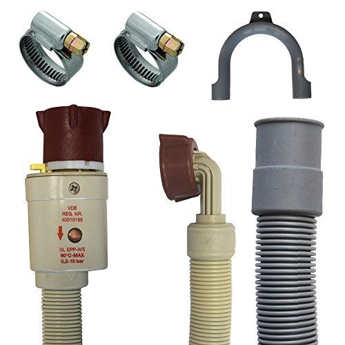Anschluss Set Aquastopschlauch +Ablaufschlauch +2Schellen für Waschmaschine und Geschirrspüler (2,5 Meter)