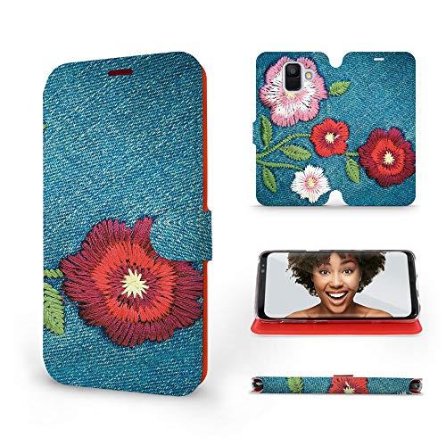 MOBIWEAR | Slim FLIP Case | Kompatibel mit Samsung Galaxy A6 2018, Made in EU handyhülle, Premium Schutzhülle, Transparent TPU Silicon, Book Style Hülle, Tasche - Gestickte Blumen -