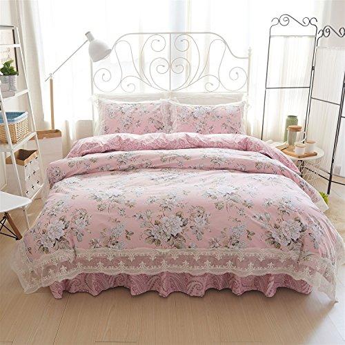 YAN Bettbezug-Bettwäsche-Set Spitze mit Blatt/Kissenbezüge Hotel Familie Schlafzimmer 4 Stück Set (ohne Kern!) (Color : A, Größe : 1.5M) -