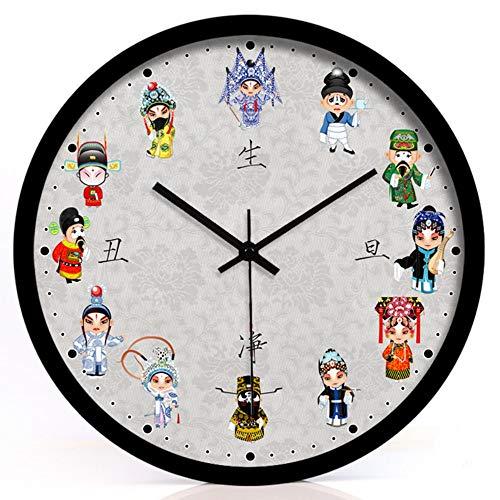 ZTZT Traditionelle Kunst Peking Opera National Treasure Hotel Dekoration Kreative Wohnzimmer Gesichtsgesundheitsnetz Hässliche Stille Wanduhr 14 Zoll