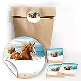JuNa-Experten 12 Geschenktüten/Natur + 12 Aufkleber Pferde für Geschenke Mitgebseln beim Kindergeburtstag / Papierbeutel für Gastgeschenk mit Sticker