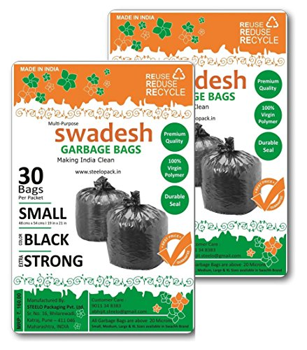 Swachh Garbage Bags, Black Color, Standard Size, 48cms x 54cms, 19inch x 21inch, Combo of 02pack x 30pcs each = 60pcs  available at amazon for Rs.125