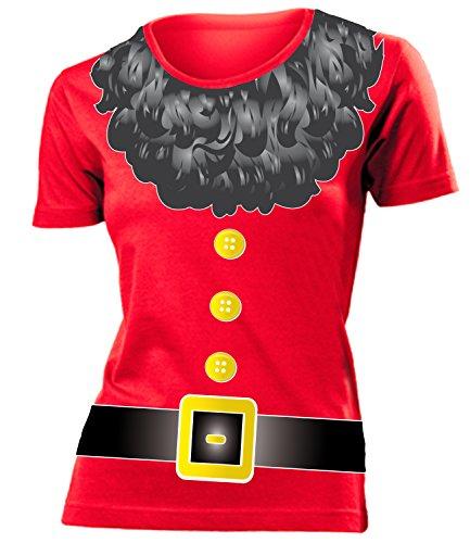 Zwergkostüm Zwerg Kostüm Kleidung 4515 Damen T-Shirt Frauen Karneval Fasching Faschingskostüm Karnevalskostüm Paarkostüm Gruppenkostüm Rot S