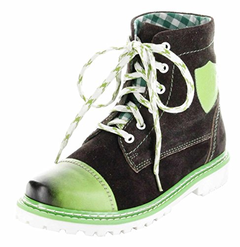 Bergheimer Trachtenschuhe Stiefel grün Leder Stiefelette Damen Schuhe Aflenz, Größe:39, (Herren Stiefel Trachten Grün)