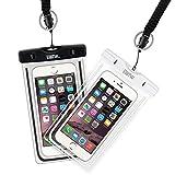 EOTW Funda Impermeable Móvil 2 Pack Bolsa Funda Sumergible Para Huawei P9 P8 iPhone 5 6 6S Plus Samsung S7 S8 S6 J7 J5 A3 Honor 8 Moto G4 Nexus 5X Funda Acuática Para Natación Buceo Barco Negro Blanco