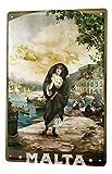 Blechschild Stadt Deko Malta Nostalgie Frau Boote