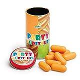 Erzi Party Würstchen in der Dose, Holzwürstchen, Spielwürstchen, aus Holz, Höhe 9,2 cm, Durchmesser 4,8 cm, braun