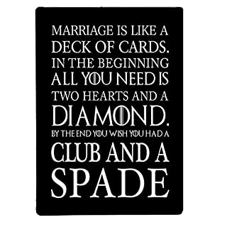 Artylicious Marriage is like a deck of cards funny Black quote A4 metal sign plaque wall art