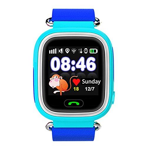 Preisvergleich Produktbild Leydee Smart Watch Baby-Uhr GPS-Telefon Positionierung Mode Kinderuhr mit 1,22 Zoll Touchscreen Wifi SOS Call Location Device Tracker für Kinder Safe Anti-Lost Monitor , blue
