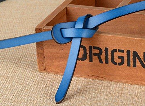 QIER-YD Damenmode Gürtel mit passendem Kleid aus feinem Leder mit verschiedenen Knotenmethoden Blau 102CM -