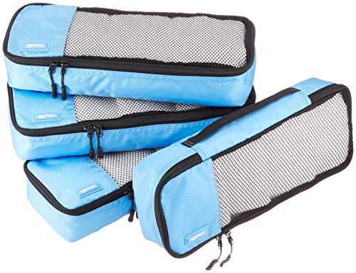 AmazonBasics Lot de 4sacoches de rangement pour bagage TailleSlim, Bleu Ciel