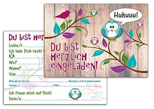12-er Kartenset (10 + 2 Gratis-Karten) mit niedlichem, lustigem Uhu- bzw. Eulen-Motiv, Kindergeburtstag-Einladungskarten für die Geburtstags-Party - 3