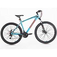 Bicicleta de montaña, marco de acero Tenedor, suspensión delantera, azul tamaño 27,