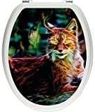 Pixxprint 3D_WCs_3236_32x40 aufmerksamer Luchs als Toilettendeckel Aufkleber, WC, Klodeckel, gläzendes Material, bunt, 40 x 32 cm
