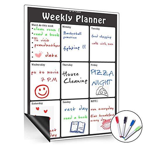 Pizarra blanca magnética de borrado en seco, con calendario mensual, organizador mensual y semanal, planificador para frigorífico de cocina, el aula escolar y sala de reuniones, color Vertical