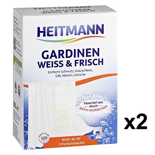 Heitmann Gardinen Weiss und Frisch: Entfernt Schmutz und Grauschleier, Waschmittel-Ergänzung gegen Gilb, Nikotin und Gerüche - für lange Frische und ein brillantes Weiß, 5 x 2 Portionsbeutel
