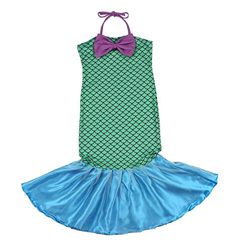 (KNOSSOS Little Mermaid Tail Princess Fancy Dresses with Bow Cosplay Costume for Girls, M)