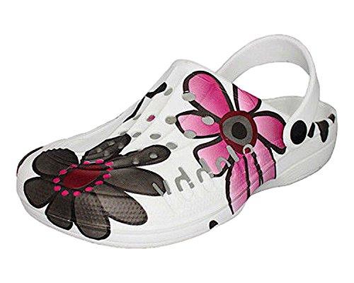 ACO Damen Clogs & Pantoletten Muster Bunte Blumen (39, Rosa/Schwarz/grau)