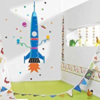 Cartoon Rocket Star Height Measurement Wall Stickers for Kids Rooms Nursery Home Decor PVC Growth Chart Decals DIY Mural Art