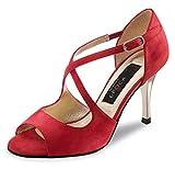 Nueva Epoca - Damen Tanzschuhe Flavia - Velourleder Rot - 8 cm Stiletto Absatz [UK 3,5]