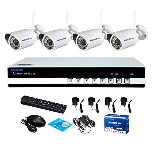 Preisvergleich Produktbild sinocam 4channel h.264 nvr Satz (4 Stück Wireless 1.0mp 3.6mm Tag-Nachtsicht-IP-Kamera wetter), 1MP HD p2p bewegungserkennung