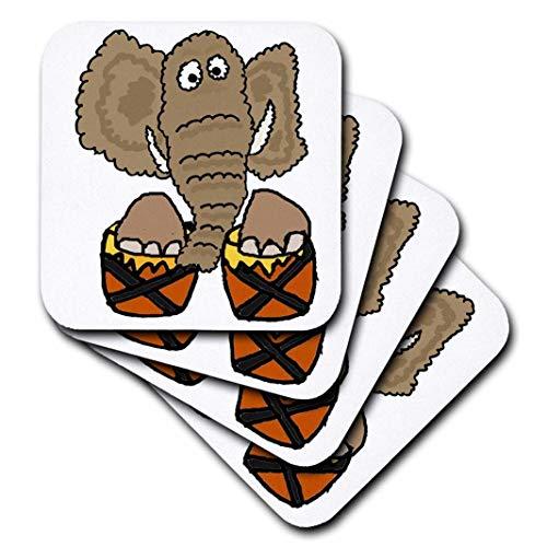 3drose CST 255759_ 1Funny Cute Elefant Spielen Bongo Drums, Set 4Soft Untersetzer