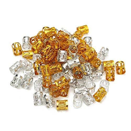 KUNSE 100Pcs 8Mm Dreadlock Flechten Perlen Geflecht Manschette Röhren Haarspangen Gold Silber Dreadlocks Gemischt