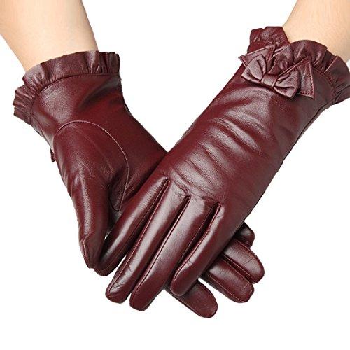 DIDIDD Handschuh weibliche Finger Handschuhe Verdickung warmen (Finger Bögen Haar)