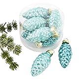 Weihnachtskugel Zapfen Premium 8er Set Glas 5x2x2cm Xmas Baumschmuck