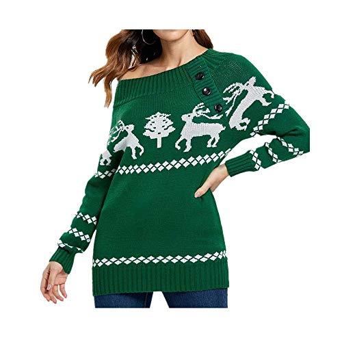 SEWORLD Vintage Weihnachten Damen Christmas Weihnachtsbaum Elch Drucken Skew Neck oder aus der Schulter Gestrickt Button Sweater Langarm Tops Pullover Sweatshirt ()