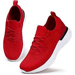 HKR Damen Sneaker Bequeme Walkingschuhe Atmungsaktiv Laufschuhe Schnürer Sportschuhe Turnschuhe Fitness Leichte Schuhe Rot 38 EU