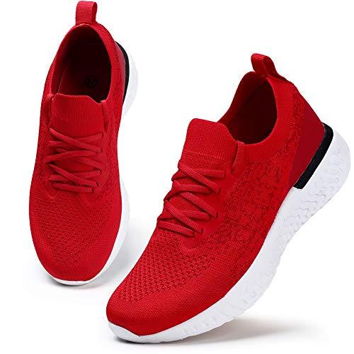 HKR Damen Sneaker Bequeme Walkingschuhe Atmungsaktiv Laufschuhe Schnürer Sportschuhe Turnschuhe Fitness Leichte Schuhe Rot 41 EU