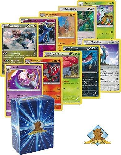 25Pokemon Rare Karte Viel 120HP oder höher mit Holos. Keine Duplikate. Bonus Pokemon Sammelfiguren Münze. inkl. goldenem Murmeltier Deck Box.