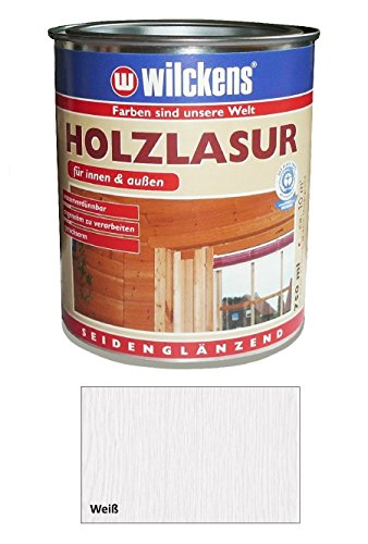 Wilckens 750 ml Holzlasur Innen & Außen, wasserverdünnbar, Weiß Seidenglänzend