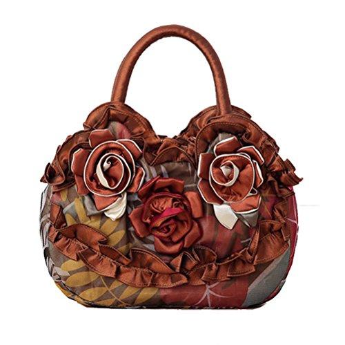 Cheerlife Vintage Damen Stickerei Blumen Handtasche Party Clutch Bag Abendtasche Stoffbeutel Geldbeutel Braun