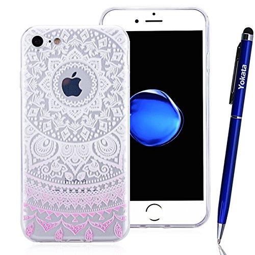 Coque Apple iPhone 7, Yokata Case Mandala Tribal Motif Design Housse Étui Clair Transparente Soft Doux TPU Silicone Flexible Backcover Ultra Mince Hybrid Crystal Coque + 1*Stylet - Bleu Rose