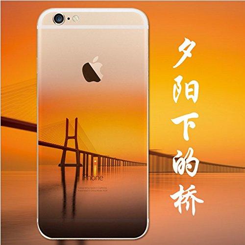 iPhone 5s Cover, MAOOY Bellissimo Paesaggio Modello Design Case per iPhone SE, Flessibile Ultra Sottile Leggero Bumper Copertura di Soft Gomma Sveglio Cristallo Gel Antiurto Protettiva per 4.0 Apple  Tramonto Ponte
