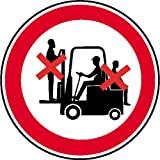 Mitfahren auf Gabelstapler verboten Verbotsschild, selbstkl. Folie, Größe 20cm