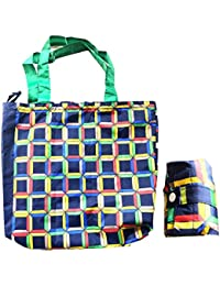 Printed Shopping Bag Reusable Grocery Bag, Foldable Polyester Long Handles Washable - Assorted Color And Print