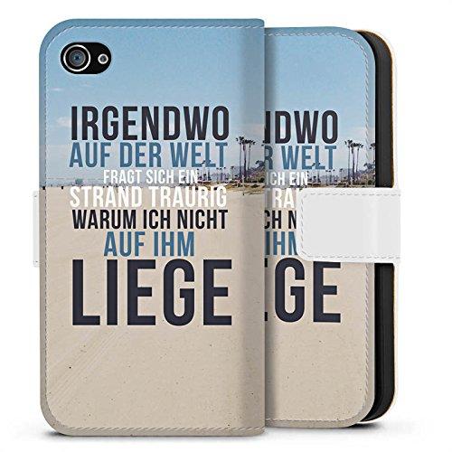 Apple iPhone X Silikon Hülle Case Schutzhülle Strand Sommer Sonne Sideflip Tasche weiß