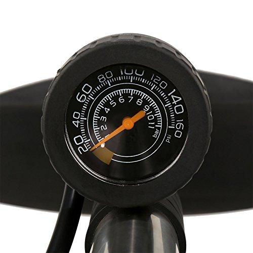 Fahrradpumpe Sport Hochdruck Compact Fahrradbodenpumpe Universal Bike Reifen Innenrohr Track Pump (Silber) - 4