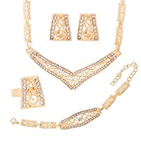 18K Gold Plated Austrian Crystal Necklace Earrings Bracelet Ring Round Clasp Round Jewelry Sets