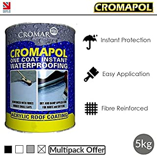 Cromapol | Acrylic Roof Coat | Roof Paint Sealant | Multipack | 4 Colours | 5 Kg Tins | 1 x 5Kg | Grey