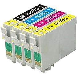1 Go Inks Ensemble de 4 Cartouches d'encre à remplacer Epson T0615 Compatible/Non-OEM pour Epson Stylus Imprimantes (4 encres)