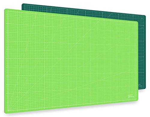 Guss & Mason Selbstheilende Schneidematte A1 in Grün, Pink, Blau. Perfekt zum Nähen, Basteln und Patchworken. 90x60 beidseitig Bedruckt. cm und inch Angabe -