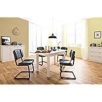 Preisvergleich für Esstisch weiß ausziehbar bis 160 cm | Küchentisch | inkl. Auszugsplatte | 120 x 70 cm Grundmaß