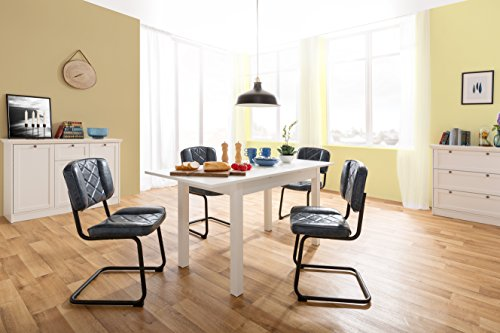 Inter Trade Corporation Esstisch weiß ausziehbar bis 160 cm | Küchentisch | inkl. Auszugsplatte | 120 x 70 cm Grundmaß